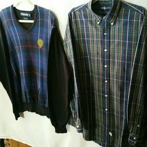 Ralph Lauren plaid sweater with plaid shirt size L
